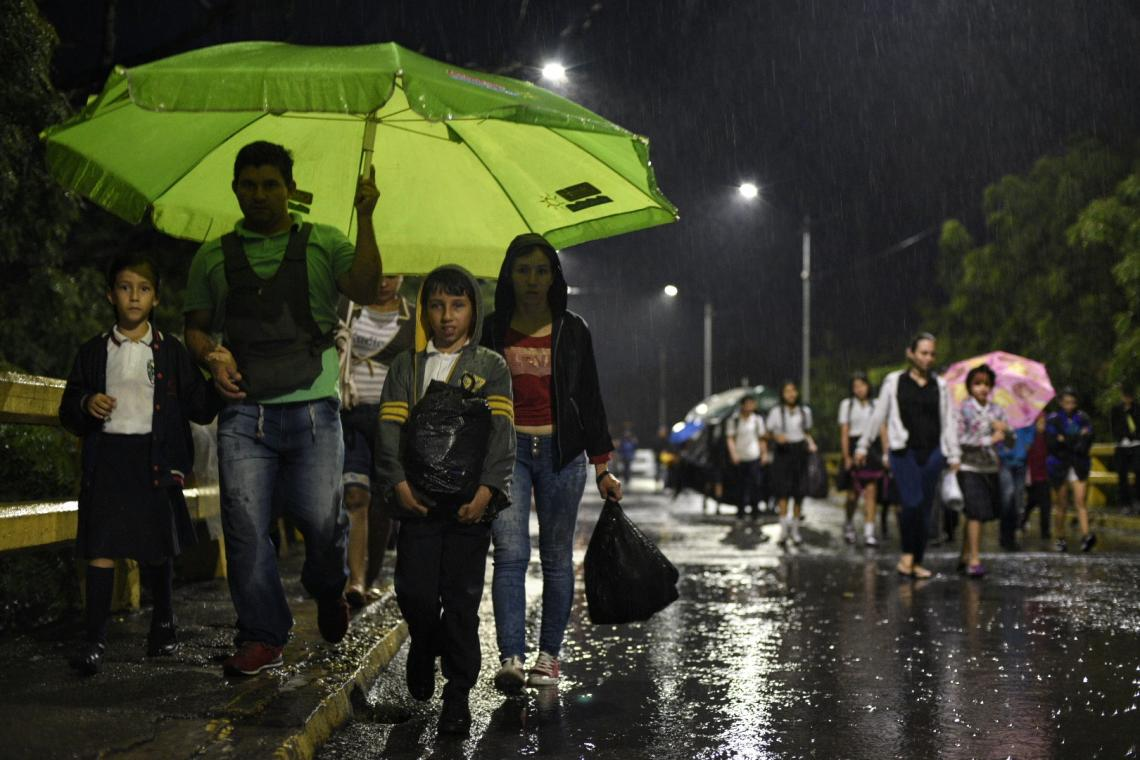 Colombia. Children from Venezuela travel to school in Colombia.