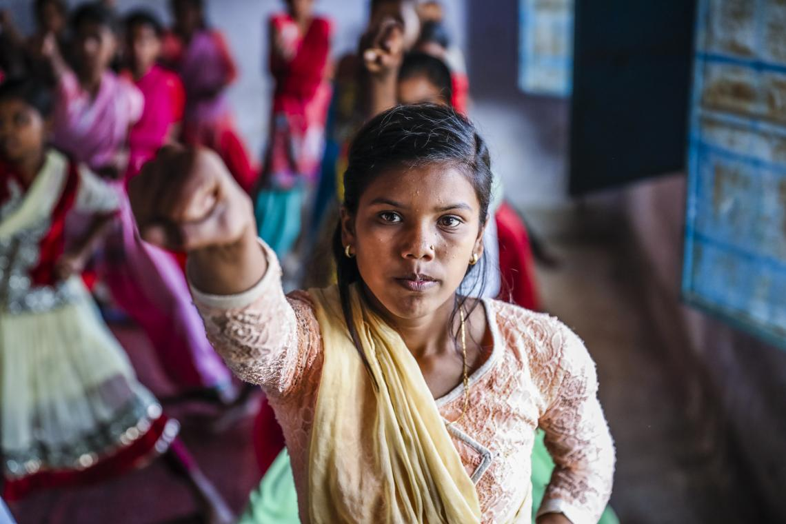 An adolescent girl practices karate in India, in 2017.