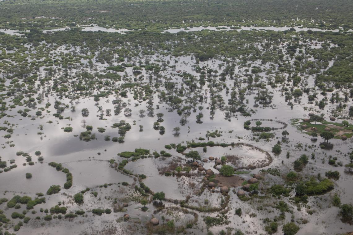 South Sudan. An aerial view of Pibor in South Sudan. Almost one-fifth of the country, which is about the size of France, is battling with unusually severe flooding.