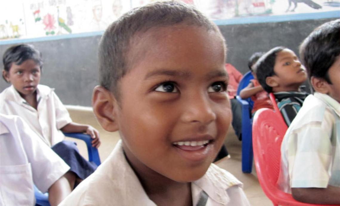 A young boy at school in India