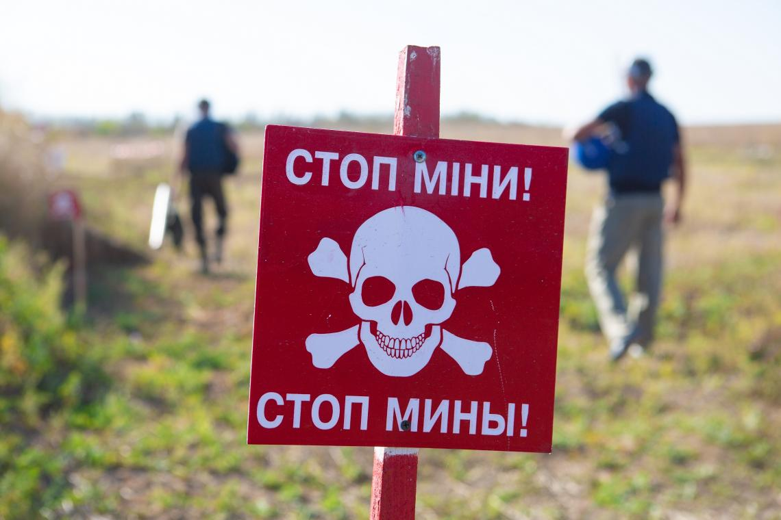 Ukraine. A sign warning about landmines in eastern Ukraine.