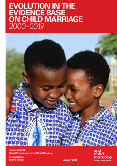 Cover page of the report Evolution in the Evidence Base on Child Marriage (2000-2019)