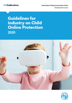 Girl wears virtual reality headset, cover page for ITU Guidelines for Industry on Child Online Protection