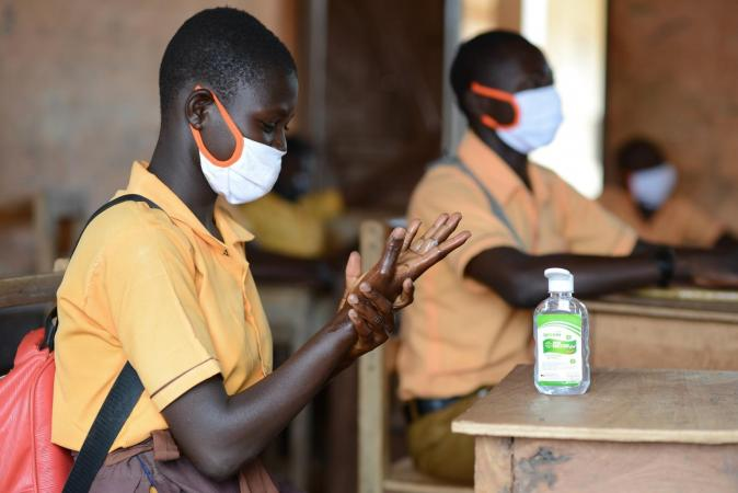 Students in Ghana were provided with masks and hand sanitizer to help curb the spread of COVID-19.