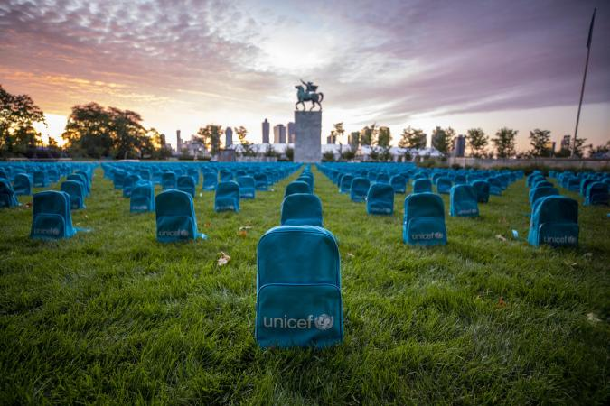 UNICEF installation highlighting the grave scale of child deaths in conflict during 2018 on the North Lawn at the United Nations Headquarters
