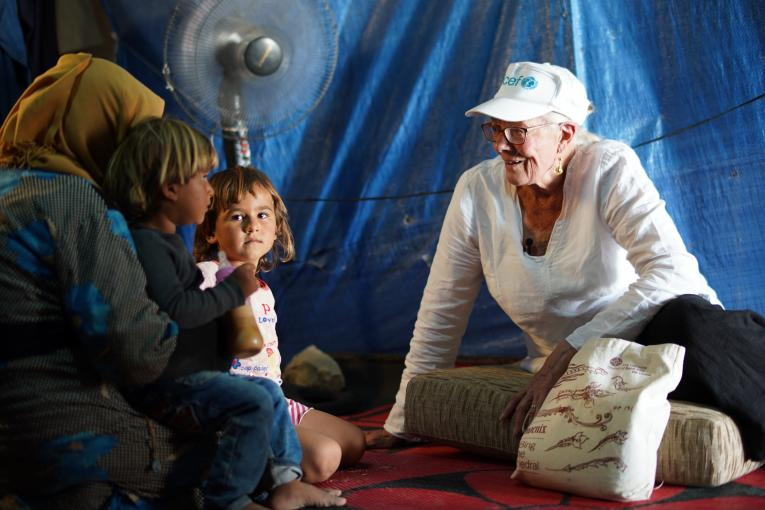 On 18 September 2018 in Lebanon, UNICEF Goodwill Ambassador Vanessa Redgrave (right) met with Syrian refugee families in Housh al Refka informal settlement in Bekaa Valley including the Hamdou family - a mother and nine children - who discussed with her the struggles they face to support themselves. Othman Hamdou (not pictured), 12, can't go to school as he must look after his siblings while his mother works as the sole breadwinner for his family.
