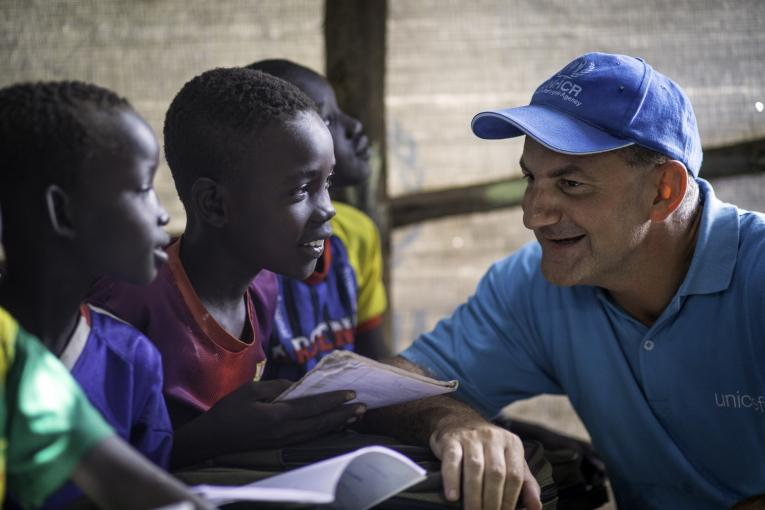 In 2014, Peter Salama, in his then role as Country Representative of UNICEF Ethiopia, visits a makeshift school at Kule Camp in Gambella region of Ethiopia