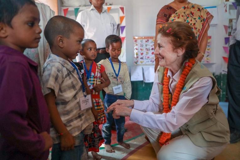 UNICEF Executive Director Henrietta H Fore meets young children at the Anganwadi Centre in Varansai District, India to observe early childhood education activities, feeding demonstration and growth monitoring activities.
