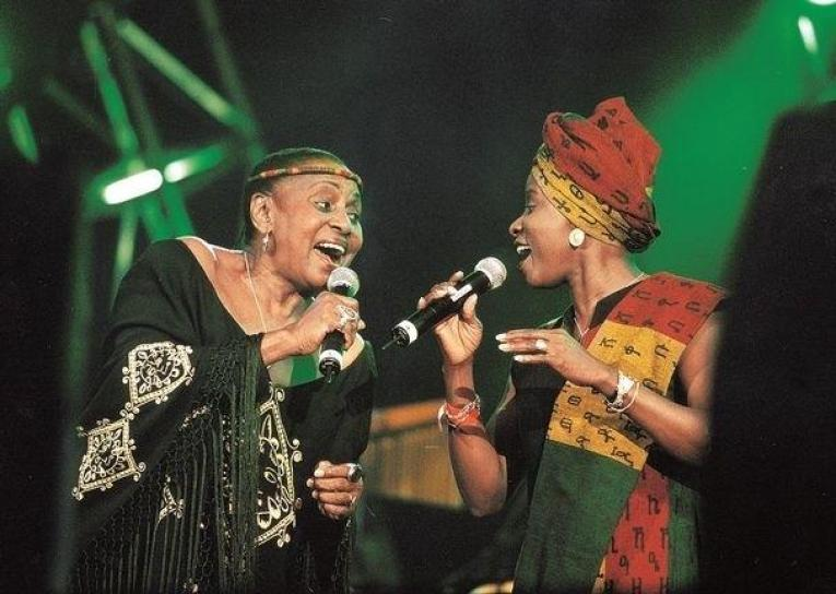Miriam Makeba and Angelique Kidjo on stage together in 2010
