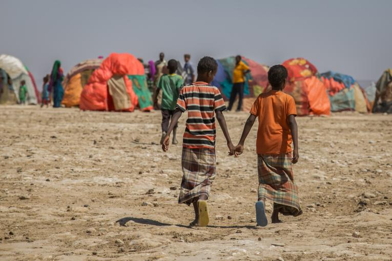 Two boys walk to their settlements in Hadhwe sub-district, Ethiopia