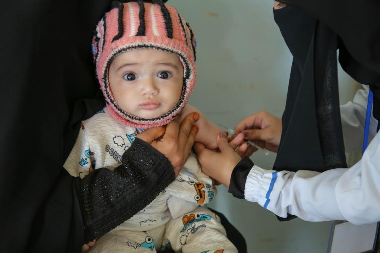 Yemen. A child is vaccinated during a measles and rubella vaccination campaign.