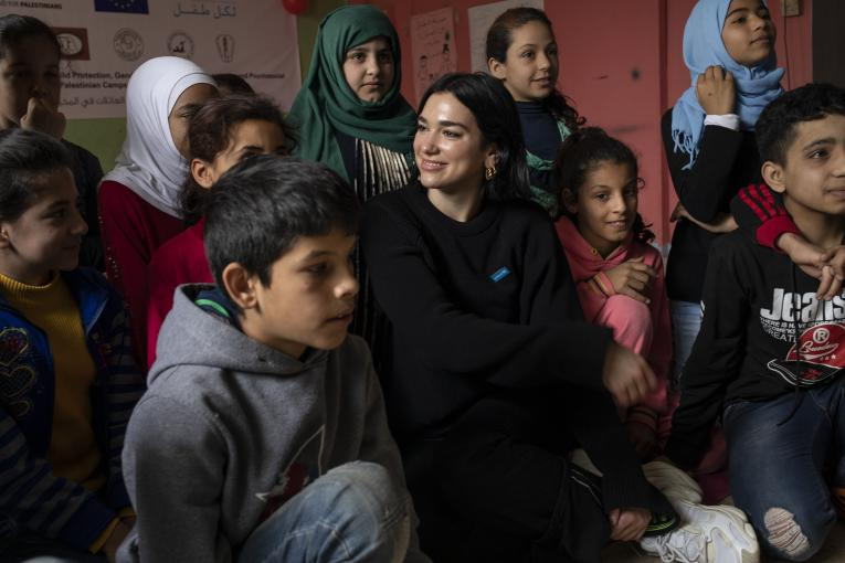 Permanent link to Image:  https://weshare.unicef.org/archive/-2AMZIF37FLKD.html UNICEF supporter and singer/songwriter Dua Lipa visits youths at the Lebanese Organisation for Studies and Training (LOST), a UNICEF partner, in Bednayel, Lebanon, April 13, 2019. LOST is a Lebanese NGO that promotes peace education and social cohesion among youth – especially between the Lebanese and Syrian youth.