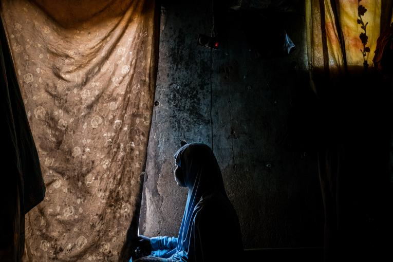 Nigeria. A girl in a community shelter in Maiduguri, Borno State, Nigeria.