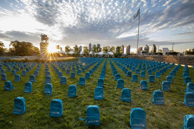 UNICEF installation unveiled at the United Nations headquarters shows the grave scale of child deaths in conflict in 2018