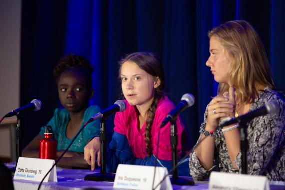 Greta alongside fellow child petitioners at UNICEF Headquarters at the United Nations Climate Summit in 2019.