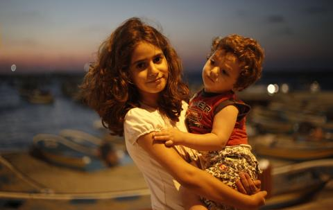 Boy and girl in Gaza