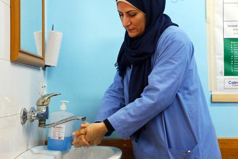 When clean water flows from a faucet in the Gaza Strip's Al Shifa hospital to wash the hands of a maternity ward nurse, it first has to be pumped through a network of pipes