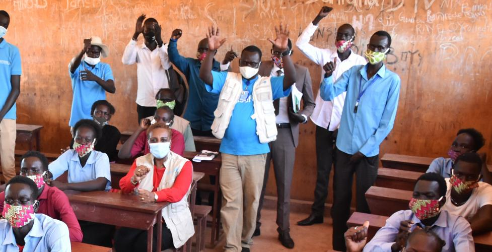 UNICEF at a school in Juba with students