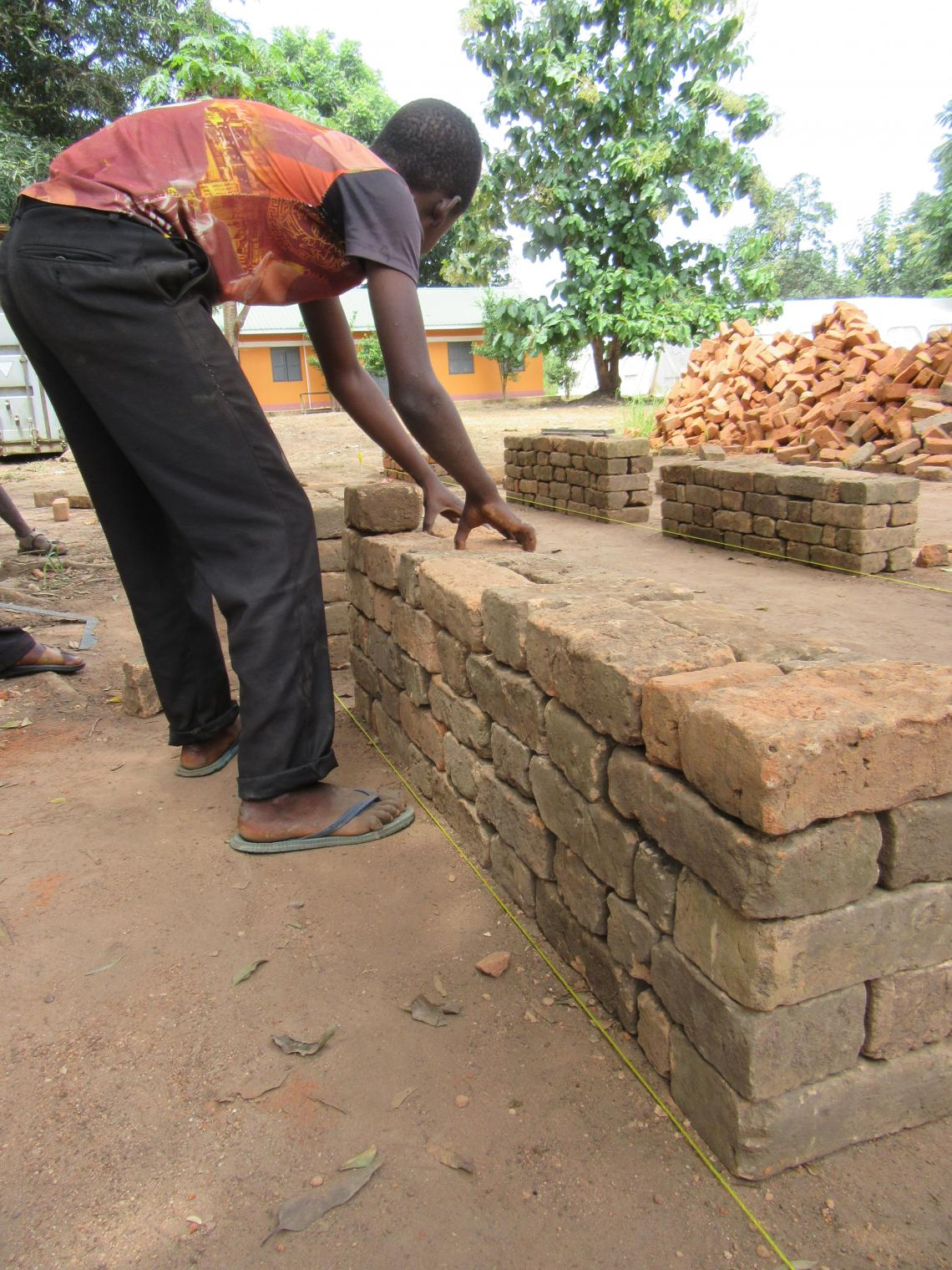 Laying bricks