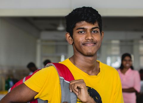 Hasaru Jayakody, 17, all set to leave the hospital