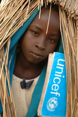 Girl with Unicef logo