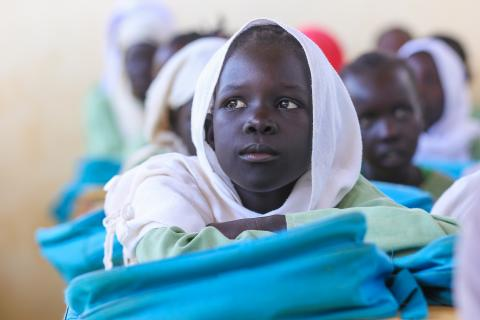 South Sudanese girl in class