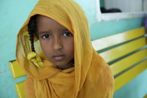 Portrait of a young girl at a nutrition Centre at Qarar Ibn-e-Al Khatab Nutrition Centre in Port Sudan