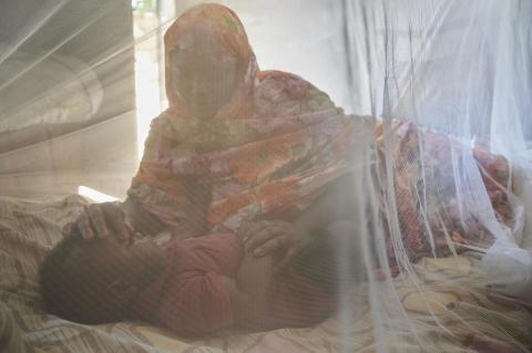 A woman put a child to sleep under a mosquito net in their house in Ad-Damazin, the capital of the Blue Nile State in Sudan.