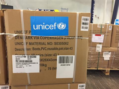UNICEF supply boxes