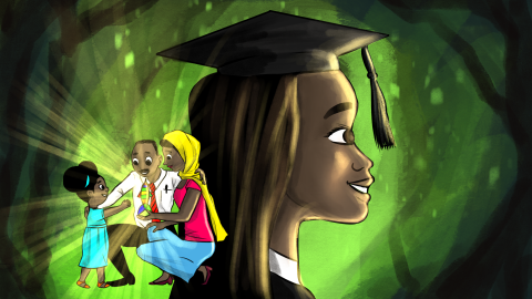 Illustration of girl in graduation cap