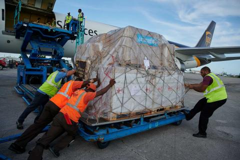 In September 2019 in Bahamas, a shipment of UNICEF emergency supplies arrive at the Nassau International Airport.