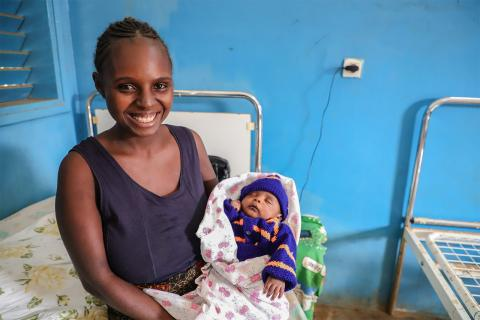 A woman and child at an integrated health centre