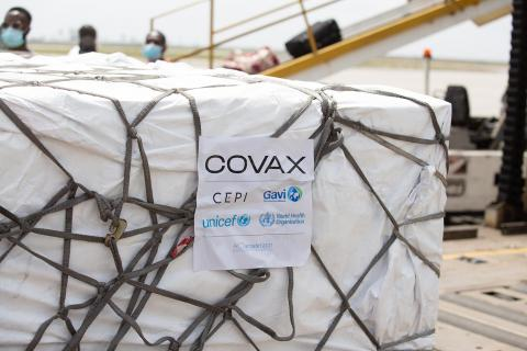 On Friday 26 February 2021, a shipment of COVAX COVID-19 vaccines arrive at the airport in Abidjan, Cote d'Ivoire.