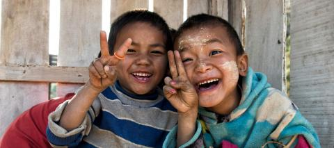 Children in Hakha, Chin State, Myanmar, happily posing for pictures during the country-wide polio vaccination campaign in 2016.