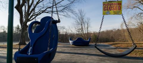 On 18 March 2020, a playground at an elementary school in Ridgefield, Connecticut, United States of America, sits empty following temporary school closures due to the COVID-19 outubreak.