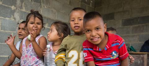 Children from the community of Pavia (Lara), Venezuela, during the implementation of Child Friendly Spaces in October 2018.