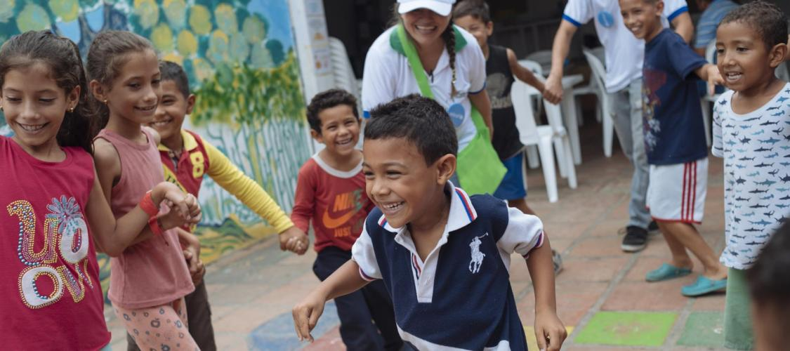 Venezuelan migrant children play at the UNICEF-supported Child Friendly Space in Colombia.