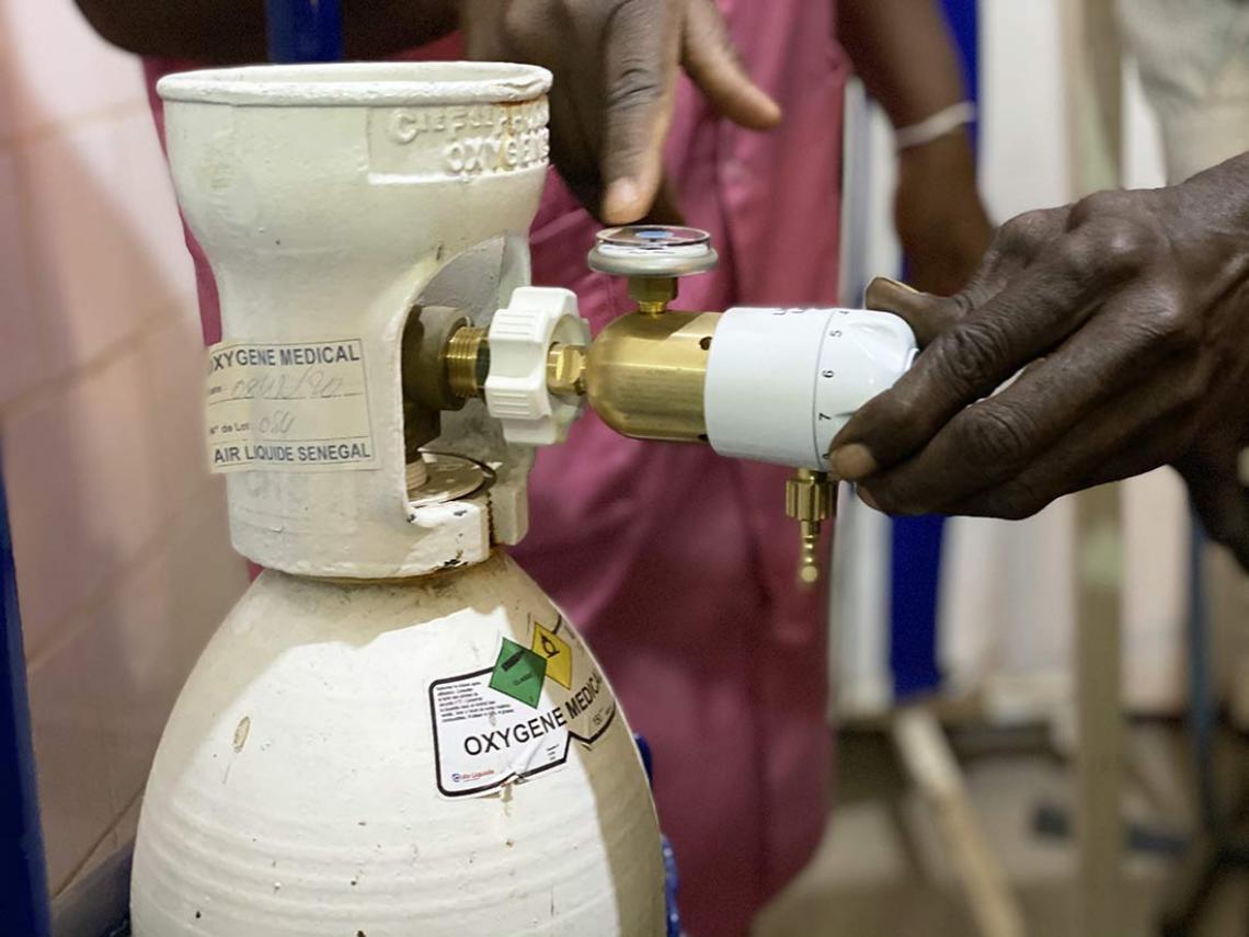 A cylinder of oxygen at the Kolda District Hospital, in Senegal.