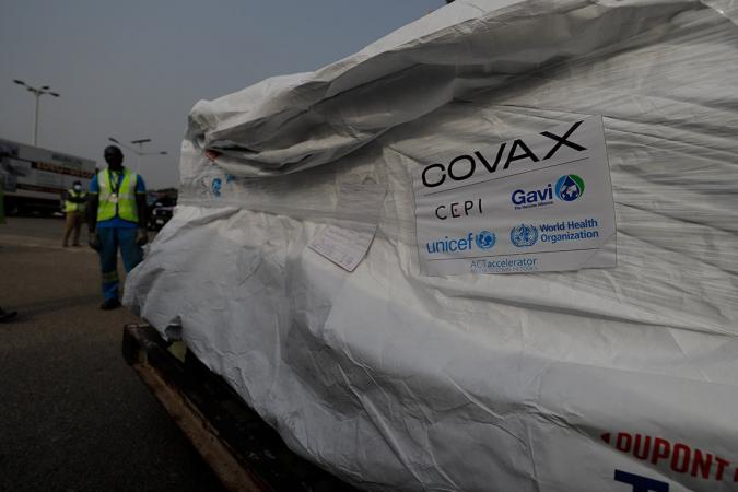 On 24 February 2021, the first shipment of COVID-19 vaccines distributed by the COVAX Facility arrives at the Kotoka International Airport in Accra, Ghana's capital.