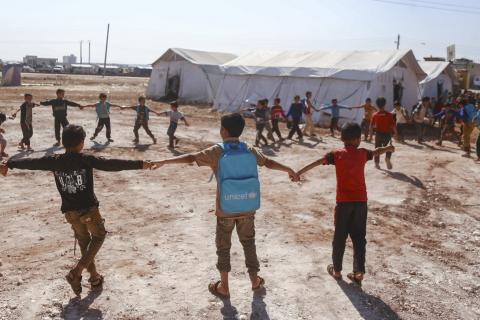 kids playing in a camp