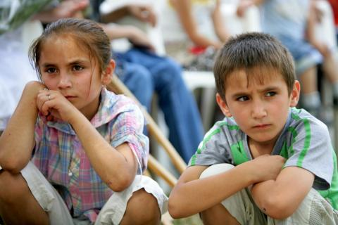 boy and girl sitting