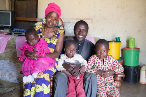 Family portrait of Pastor Isack Masako Nwoza, his wife Dorcas and their three children.