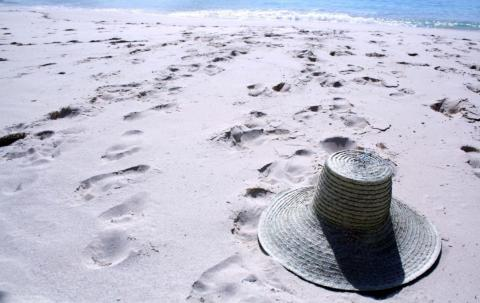 Hat lying on a sandy beach