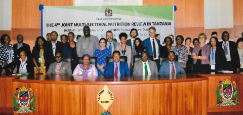 Tanzania's Prime Minister Kassim Majaliwa with members of the Government, representatives of United Nations and donors agencies at the JMNR 2017.