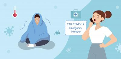 A cartoon of a woman is calling COVID-19 Emergency number since a family member is having a symptom