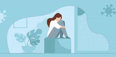 A graphic of a women sitting on a stooling hugging her knees. She seems to feel lonely.