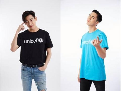 BamBam,a singer from GOT7 and Peach Patchara, the actor wearing UNICEF T shirt and invite adolescent for Dare to Dream event