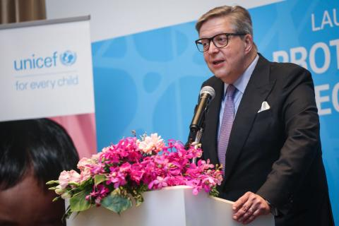 •	H.E. Mr. Pirkka Tapiola, Ambassador, European Union to Thailand speaks a remark at the event