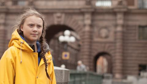 Greta Thunberg, outside the Swedish parliament in Stockholm, August 31, 2018