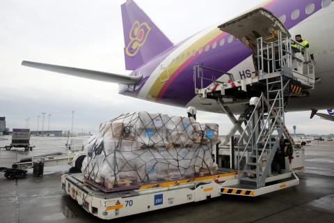The rear part of Thai Airways plane with UNICEF supplies.